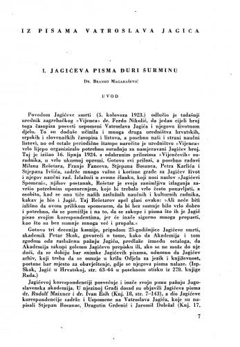 Iz pisama Vatroslava Jagića : Jagićeva pisma Đuri Šurminu / Branko Magarašević