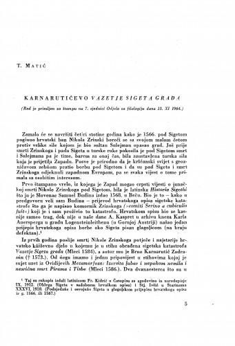 Karnarutićevo Vazetje Sigeta grada / Tomo Matić