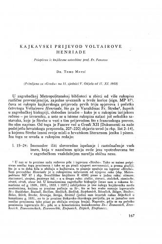 Kajkavski prijevod Voltaireove Henriade / Tomo Matić