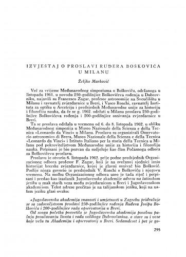 Izvještaj o proslavi Ruđera Boškovića u Milanu / Ž. Marković