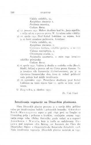 Istraživanje vegetacije na Dinarskim planinama / I. Horvat