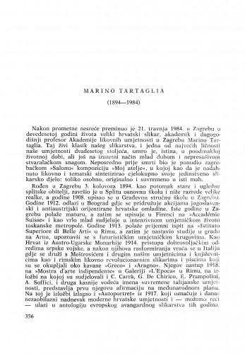 Marino Tartaglia (1894-1984) : [nekrolozi] / K. Prijatelj