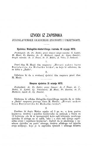Izvodi iz zapisnika Jugoslavenske akademije znanosti i umjetnosti [1872] : RAD