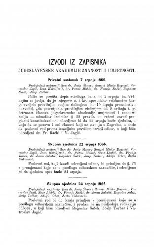 Izvodi iz zapisnika Jugoslavenske akademije znanosti i umjetnosti [1866-1867] : RAD