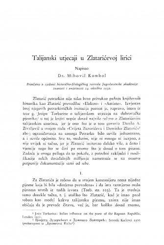 Talijanski utjecaji u Zlatarićevoj lirici