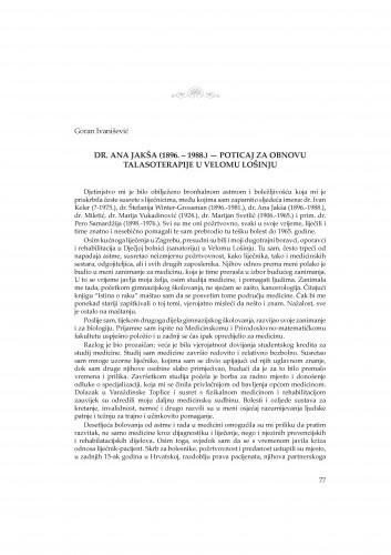 Dr. Ana Jakša (1896.-1988.) - poticaj za obnovu talasoterapije u Velom Lošinju : Rasprave i građa za povijest znanosti