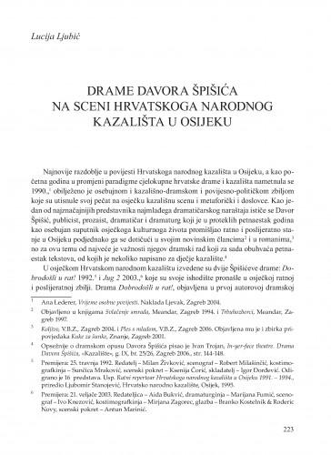 Drame Davora Špišića na sceni Hrvatskoga narodnog kazališta u Osijeku : Krležini dani u Osijeku