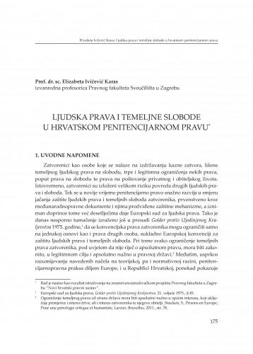 Ljudska prava i temeljne slobode u hrvatskom penitencijarnom pravu : [izlaganje] : Modernizacija prava