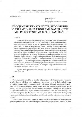 Procjene studenata učiteljskog studija o tri računalna programa namijenjena malim početnicima u programiranju : Radovi Zavoda za znanstveni i umjetnički rad u Požegi