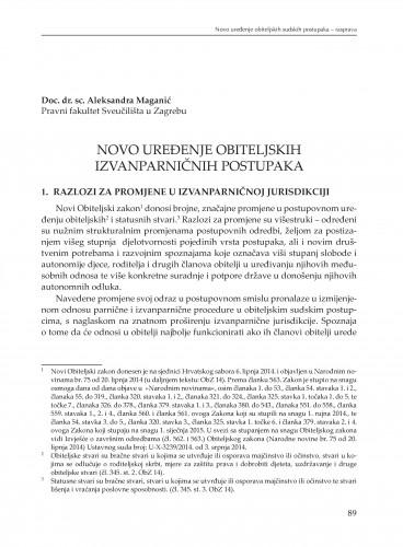 Novo uređenje obiteljskih izvanparničnih postupaka : [rasprava] : Modernizacija prava