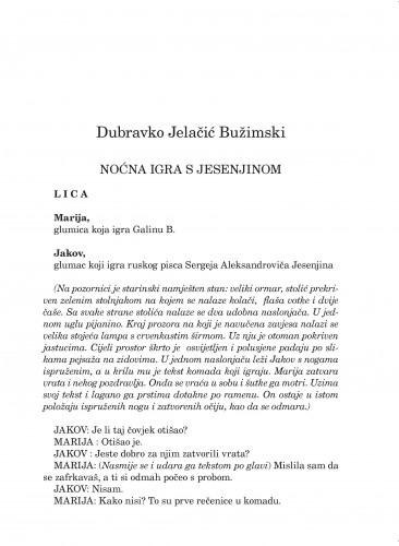 Noćna igra s Jesenjinom : Forum : mjesečnik Razreda za književnost Hrvatske akademije znanosti i umjetnosti.