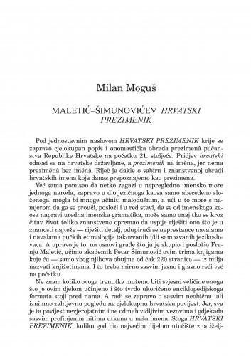 Maletić-Šimunovićev Hrvatski prezimenik : Forum : mjesečnik Razreda za književnost Hrvatske akademije znanosti i umjetnosti.