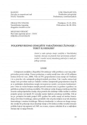 Poljoprivredno zemljište Varaždinske županije - teret ili resurs? : Radovi Zavoda za znanstveni rad Varaždin