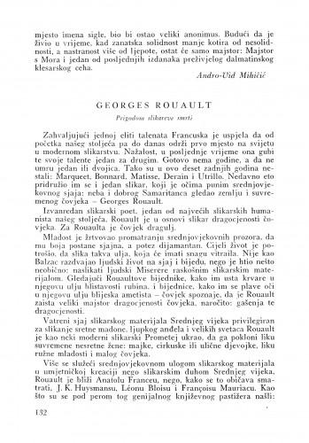 Georges Rouault : Bulletin Instituta za likovne umjetnosti Jugoslavenske akademije znanosti i umjetnosti