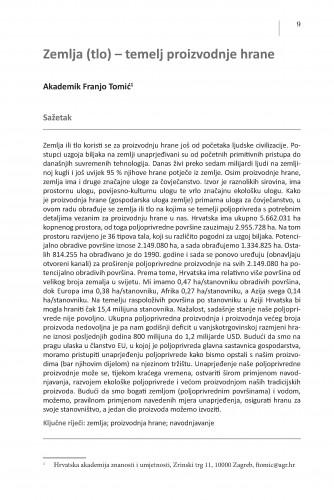 Zemlja (tlo) - temelj proizvodnje hrane : Posebna izdanja / Hrvatska akademija znanosti i umjetnosti, Centar za znanstveni rad u Vinkovcima
