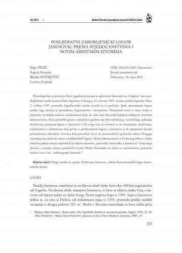 Poslijeratni zarobljenički logor Jasenovac prema svjedočanstvima i novim arhivskim izvorima : Radovi Zavoda za povijesne znanosti HAZU u Zadru
