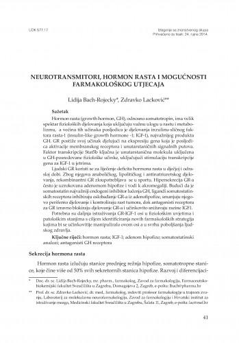 Neurotransmitori, hormon rasta i mogućnosti farmakološkog utjecaja