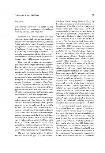 Esad Kurtović, Vlasi Bobani [The Bobani Vlachs]. Sarajevo: Društvo za proučavanje srednjovjekovne bosanske historije, 2012 : [review] : Dubrovnik Annals