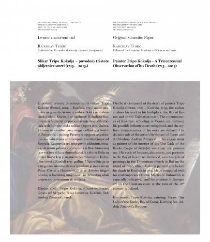 Slikar Tripo Kokolja - povodom tristote obljetnice smrti (1713.-2013.) : Art Bulletin