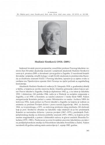 Hodimir Sirotković (1918.-2009.) : [in memoriam] : Zbornik Odsjeka za povijesne znanosti Zavoda za povijesne i društvene znanosti Hrvatske akademije znanosti i umjetnosti