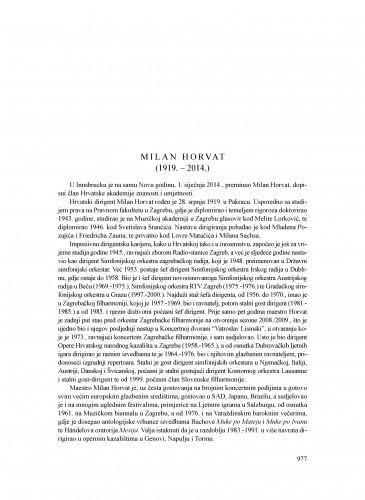 Milan Horvat (1919.-2014.) : [nekrolog] : Ljetopis