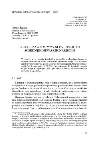 Besede za krompir v slovenskih in sosednjih hrvaških narečjih : Hrvatski dijalektološki zbornik