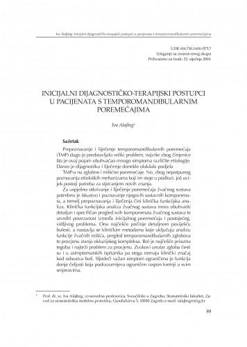 Inicijalni dijagnostičko-terapijski postupci u pacijenata s temporomandibularnim poremećajima