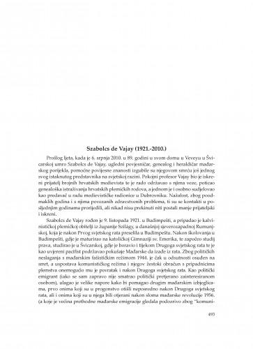 Szabolcs de Vajay (1921.-2010.) : [in memoriam] : Zbornik Odsjeka za povijesne znanosti Zavoda za povijesne i društvene znanosti Hrvatske akademije znanosti i umjetnosti