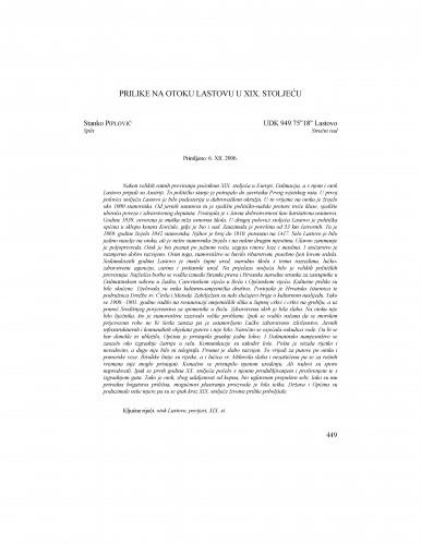 Prilike na otoku Lastovu u XIX. stoljeću : Radovi Zavoda za povijesne znanosti HAZU u Zadru