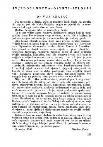 Dr Vuk Krajač : Bulletin Zavoda za likovne umjetnosti Jugoslavenske akademije znanosti i umjetnosti