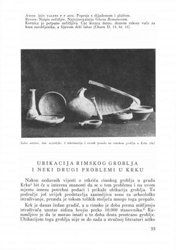 Ubikacija rimskog groblja i neki drugi problemi u Krku : Bulletin Zavoda za likovne umjetnosti Jugoslavenske akademije znanosti i umjetnosti
