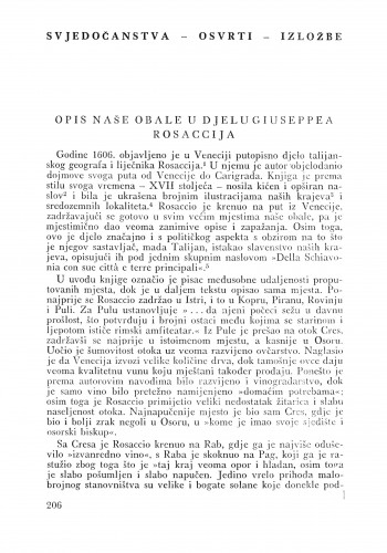 Opis naše obale u djelu Giuseppea Rosaccija : Bulletin Odjela VII. za likovne umjetnosti Jugoslavenske akademije znanosti i umjetnosti