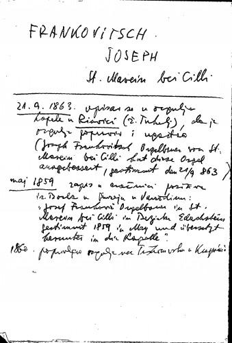 Frankovitsch Joseph St. Marein bei Cilli
