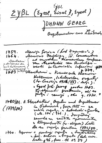 Eyßl (Eyssl, Eisel, Eißl, Eysel) Johann Georg Orgelmacher aus Laibach