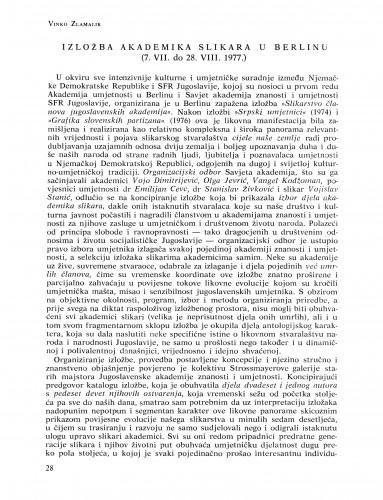 Izložba akademika slikara u Berlinu (7. VII do 28. VIII 1977.) : Bulletin Razreda za likovne umjetnosti Jugoslavenske akademije znanosti i umjetnosti