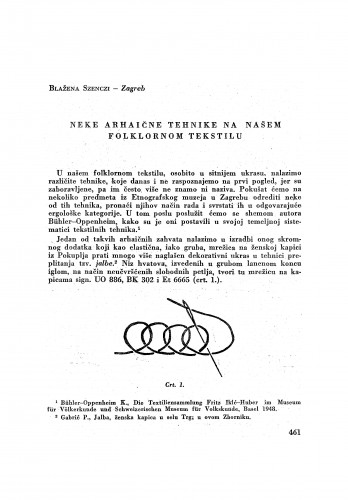 Neke arhaične tehnike na našem folklornom tekstilu / B. Szenczi