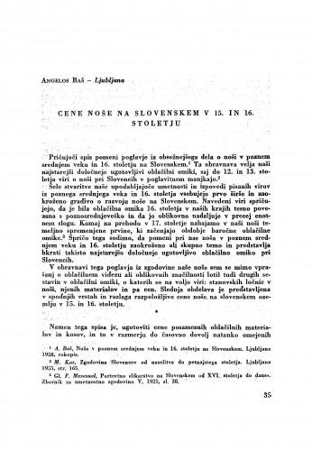 Cene noše na slovenskem v 15. in 16. stoletju / A. Baš
