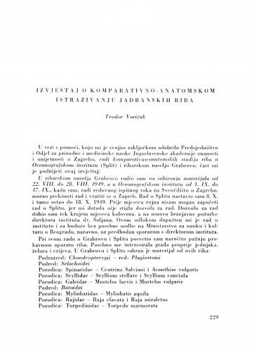 Izvještaj o komparativno-anatomskom istraživanju jadranskih riba / T. Varićak