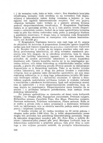 Izvještaj o balneobiološkim istraživanjima u Krapinskim toplicama / V. Vouk
