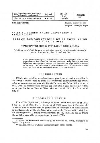 Aperçu démographique de la population de l'île de Olib
