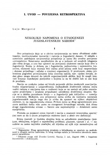Nekoliko napomena o etnogenezi jugoslavenskih naroda