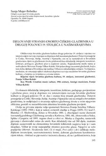 Djelovanje stranih (osobito čeških) glazbenika u drugoj polovici 19. stoljeća u našim krajevima
