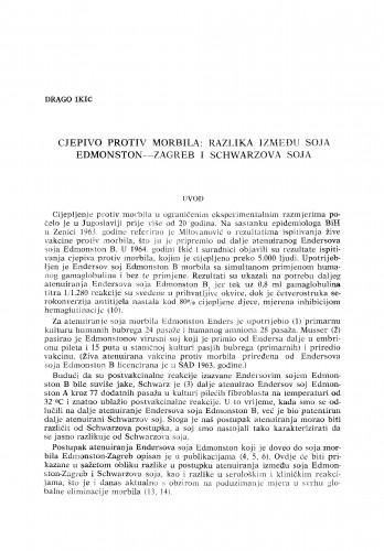 Cjepivo protiv morbila: razlika između soja Edmonton-Zagreb i Schwarzova soja