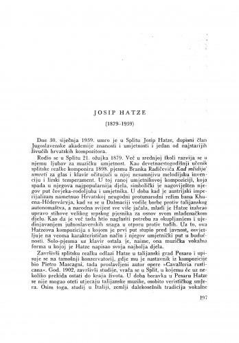 Josip Hatze (1879-1959) : [nekrolog] / J. Andreis