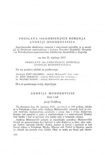 Andrija Mohorovičić, život i rad / J. Goldberg