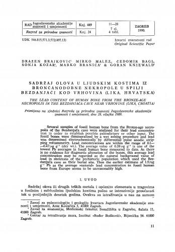 Sadržaj olova u ljudskim kostima iz brončanodobne nekropole u spilji Bezdanjači kod Vrhovina (Lika, Hrvatska)
