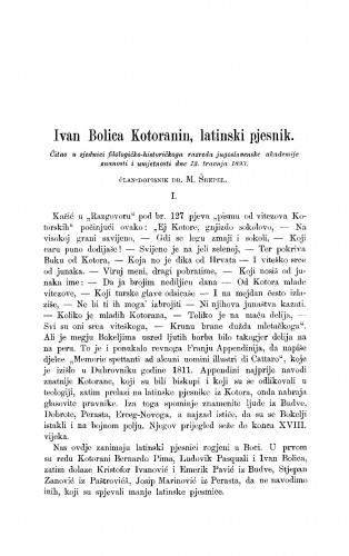 Ivan Bolica Kotoranin, latinski pjesnik