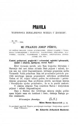 Pravila Narodnoga zemaljskoga muzeja u Zagrebu : RAD