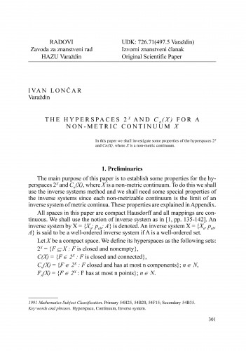 The hyperspaces 2x and Cn(X) for a non-metric continuum X : Radovi Zavoda za znanstveni rad Varaždin