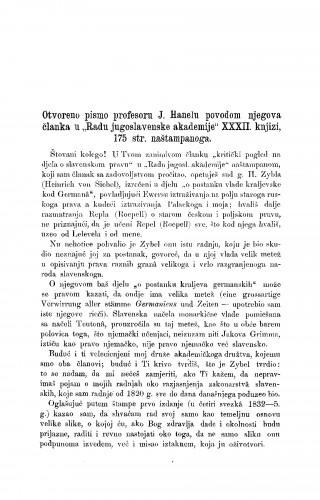 Otvoreno pismo profesoru J. Hanelu povodom njegovog članka u
